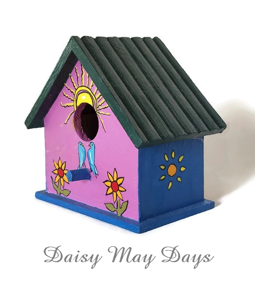 Bluebirds and Sunflowers, Folk Art Birdhouse Home Decor, Daisy May Days