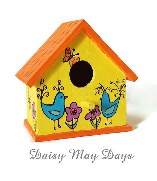Bluebirds and flowers folk art birdhouse home decor