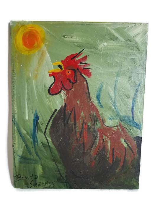 Mr Rooster Original Folk Art Painting