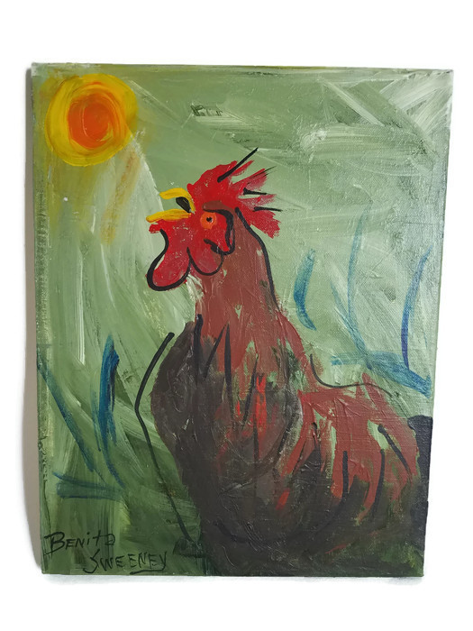 Mr Rooster Original Folk Art Painting