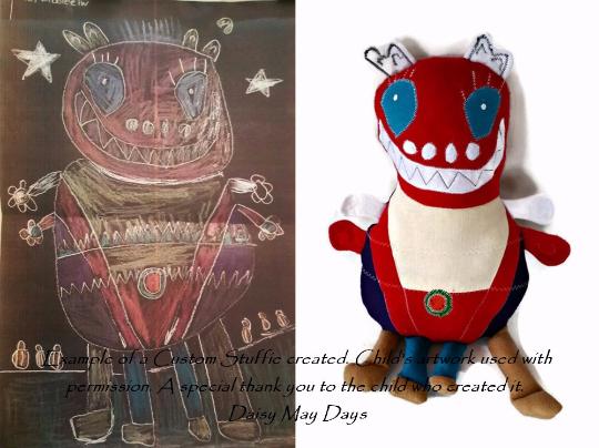Custom stuffed monster made from child's artwork