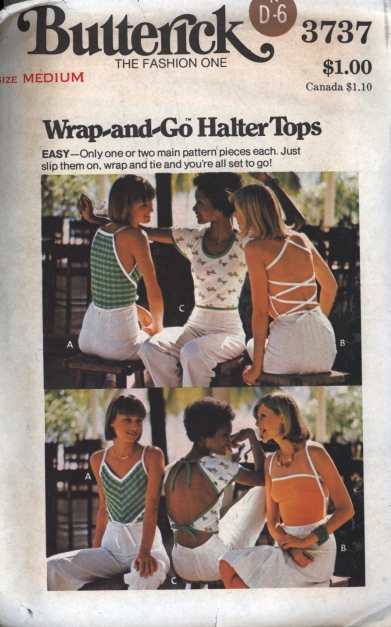 Vintage Butterick Wrap and Go Halter Tops Pattern